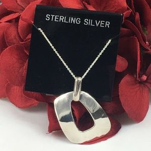 Sterling Silver Modern O Pendant Necklace